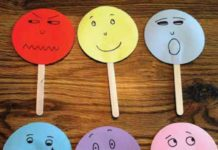papers faces displaying different emotions